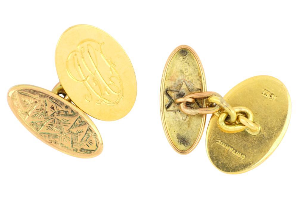 Pair antique Victorian Britannic 18ct & 9ct gold cufflinks, Weight 8.00 grams