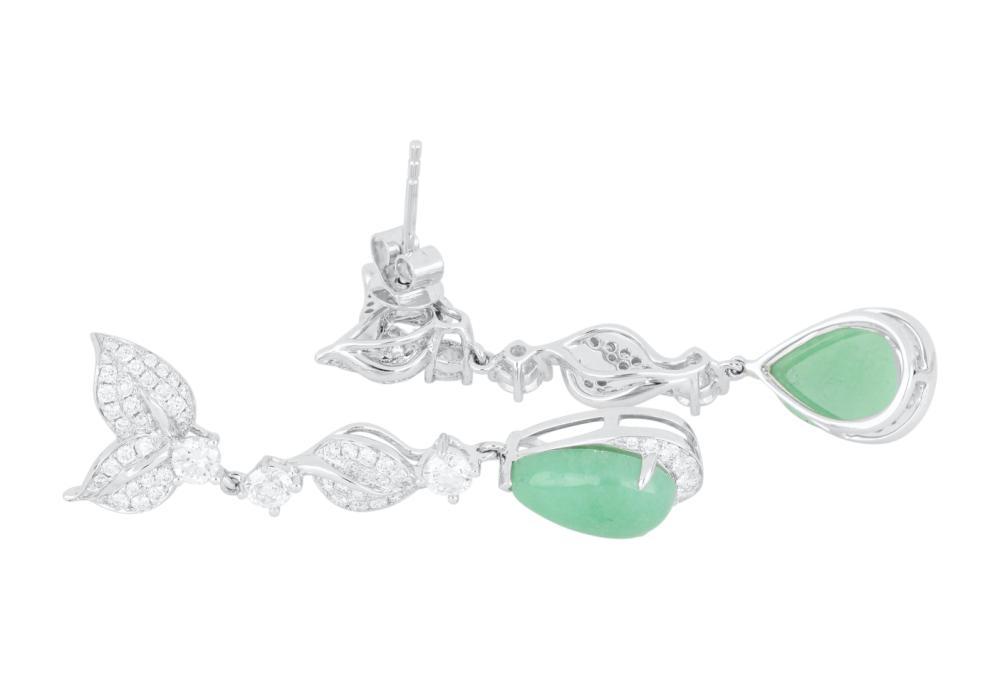 Pair 18ct white gold jadeite jade and diamond earrings, Valuation $7,142.00