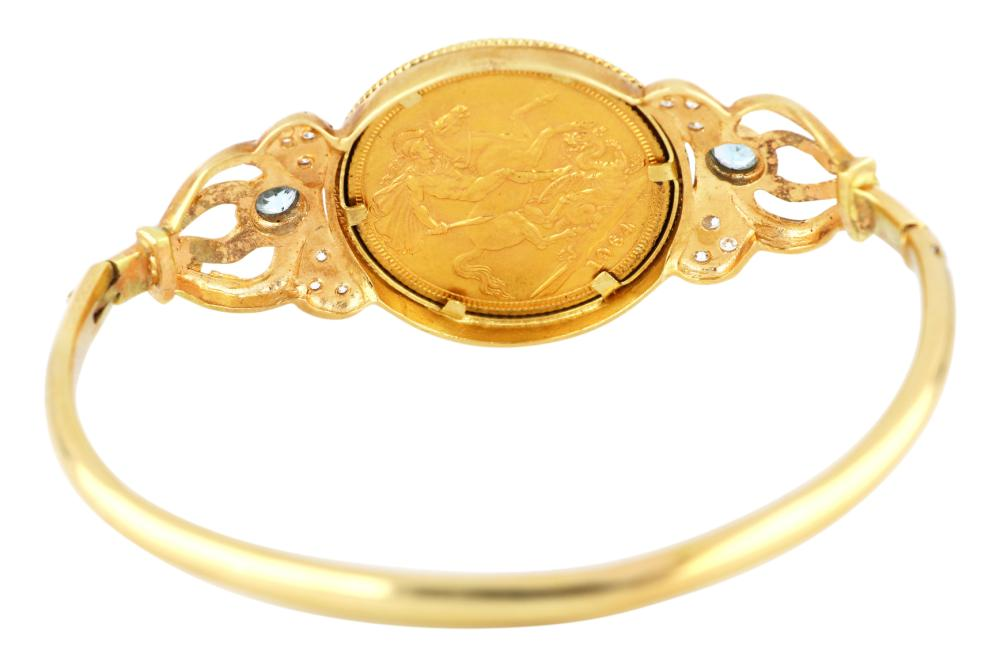 14ct yellow gold bangle set with 22ct gold 1964 sovereign coin & blue topaz & diamonds