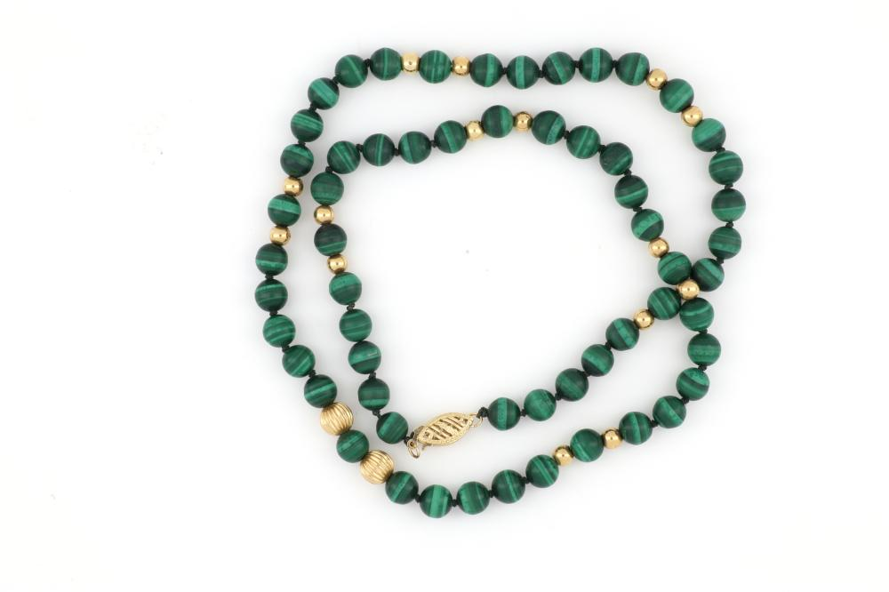 String of malachite &14ct gold beads