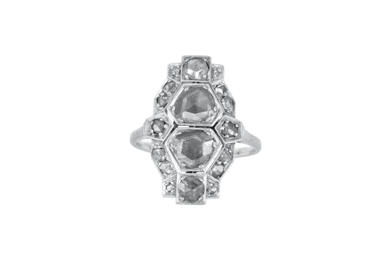 Platinum Art Deco Old European Rose Cut diamond ring