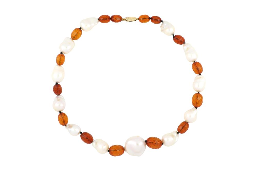 Vintage Faceted Amber and Baroque Pearl Necklace, Graduation 8mm - 20mm, Length 45 cms