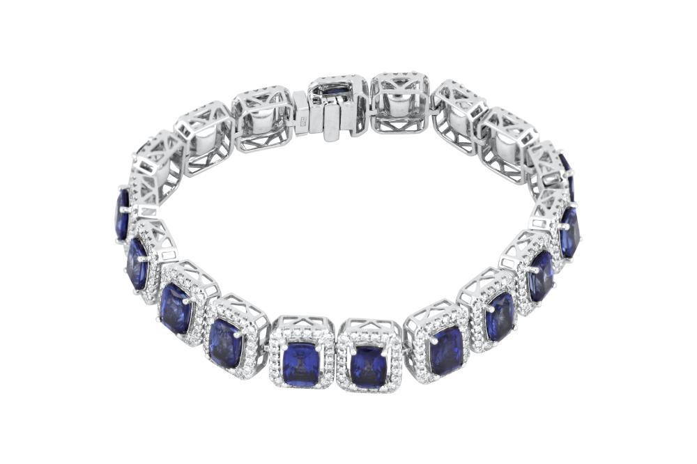 18ct gold sapphire & diamond bracelet, 30.53 grams