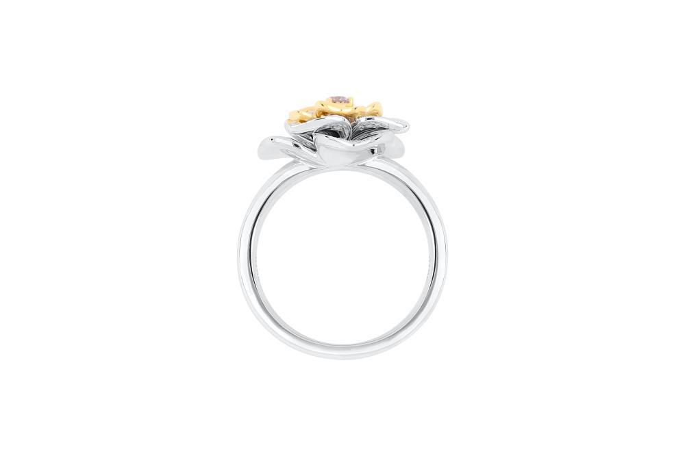 18k white gold ring set with a centre FP Argyle 0.068ct brilliant cut natural diamond