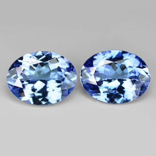 2.75 Carat 2 Pcs Rich Matching Pair Violet Blue Natural Tanzanite Gemstone