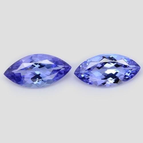 2.90 Carat 2 Pcs Very Rare Matching Pair Blue Color Natural Tanzanite Gemstone