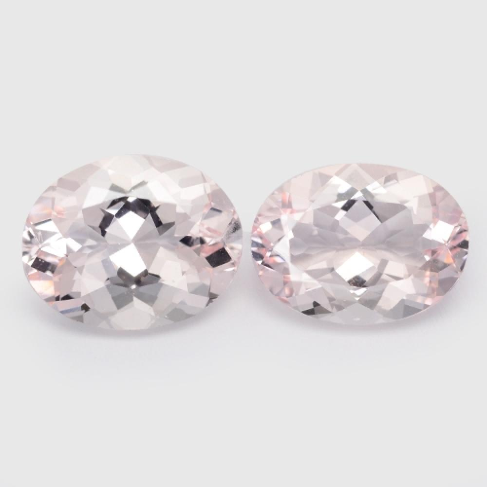 5.60 Carat 2 Pcs Excellent Matching pair Top Pink Color Natural Morganite Gemstone