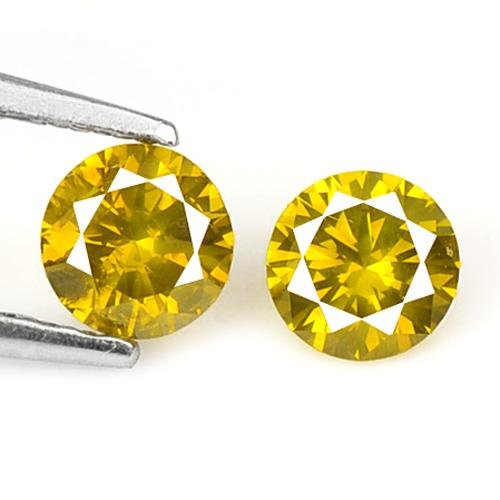 0.37 Carat 2 Pcs Fancy Vivid Yellow Color Natural Pair Loose Diamond