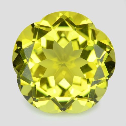 23.68 Carat Flower Cut Lemon Color Natural Lemon Quartz Loose Gemstone