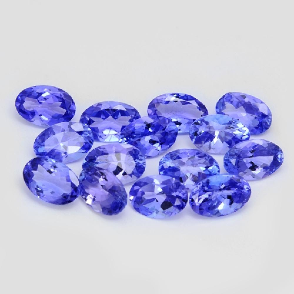 6.53 Carat 14 Pcs(6 x 4 MM) Calibrated Rare Collection Violet Blue Color Tanzanite Gemstone