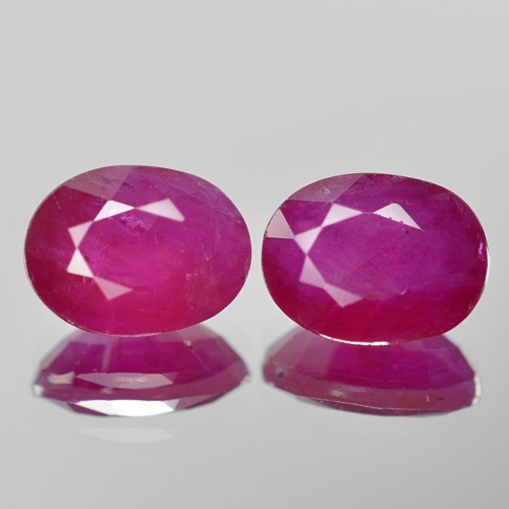 4.81 Carat 2 Pcs Matching Pair Reddish Pink Natural Burma Ruby Gemstone