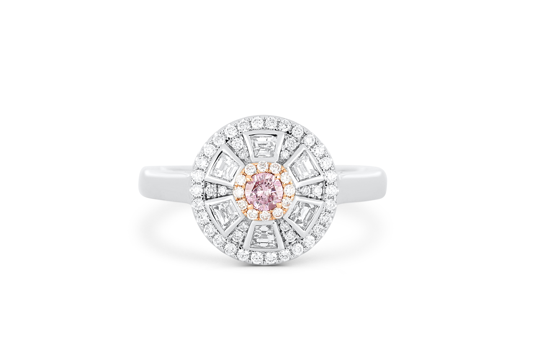 18k white gold ring set with a centre FDPP Argyle 0.10ct brilliant cut natural diamond