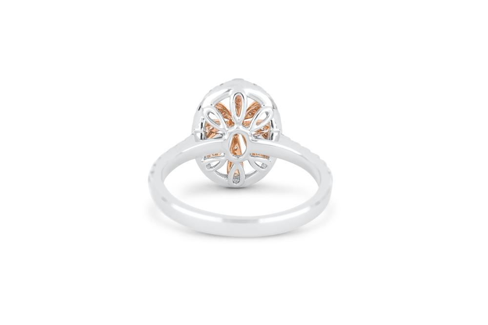 18k gold ring set with a centre FIPP Argyle 0.053ct oval cut natural diamond