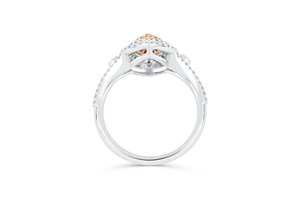 18k gold ring set with a centre FIPP Argyle 0.111ct marquise cut natural FIPP Argyle diamond
