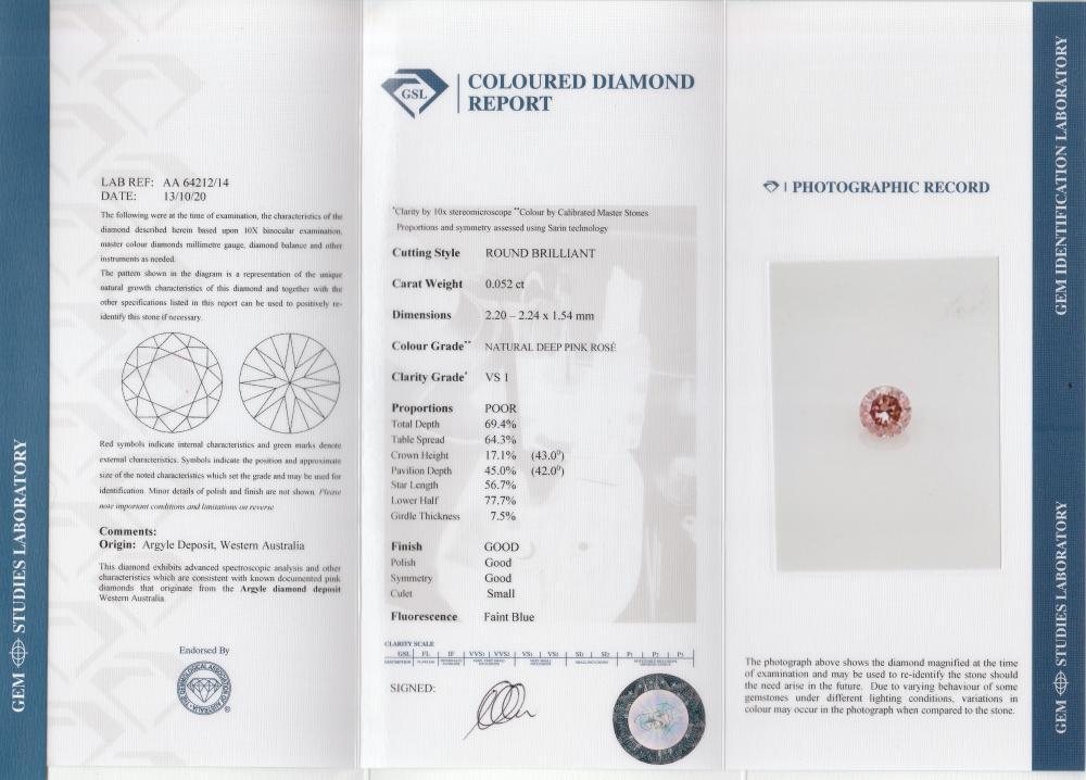 18k gold ring set with a centre FDPR Argyle 0.052ct brilliant cut natural diamond