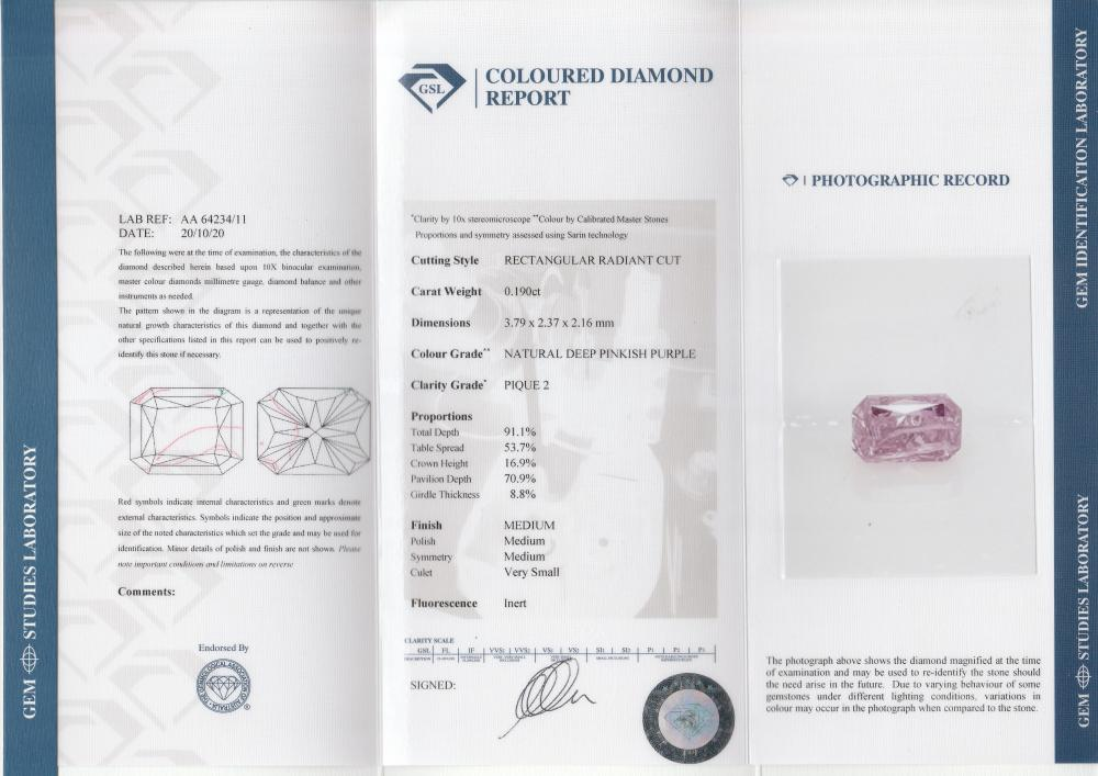 18k gold ring set with a centre FIPP 0.19ct radiant cut natural diamond