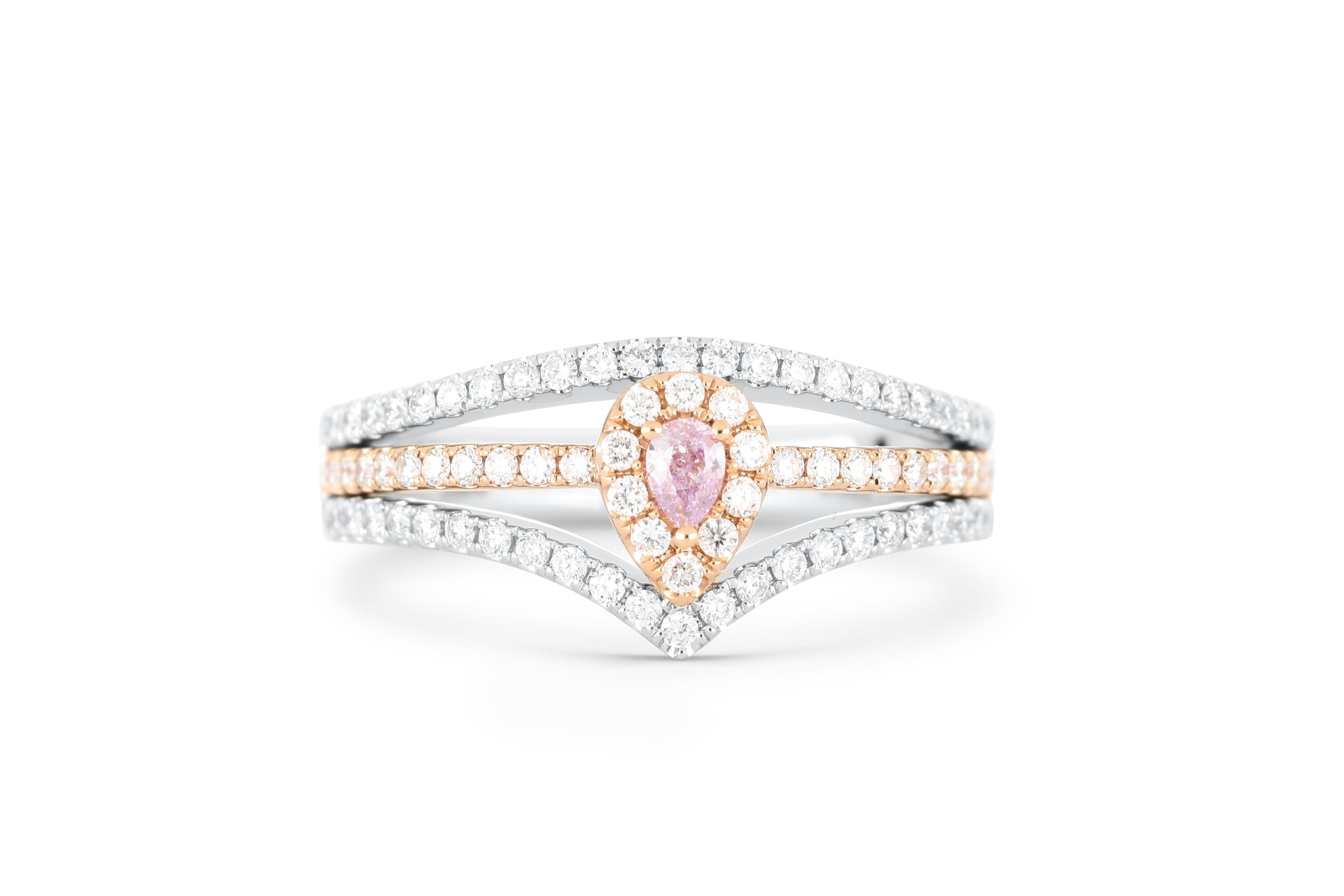 18k gold ring set with a centre FLPP 0.082ct pear cut natural diamond