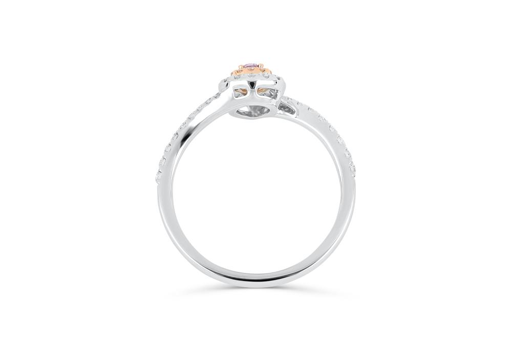 18k gold ring set with a centre FPP 0.062ct pear cut natural diamond