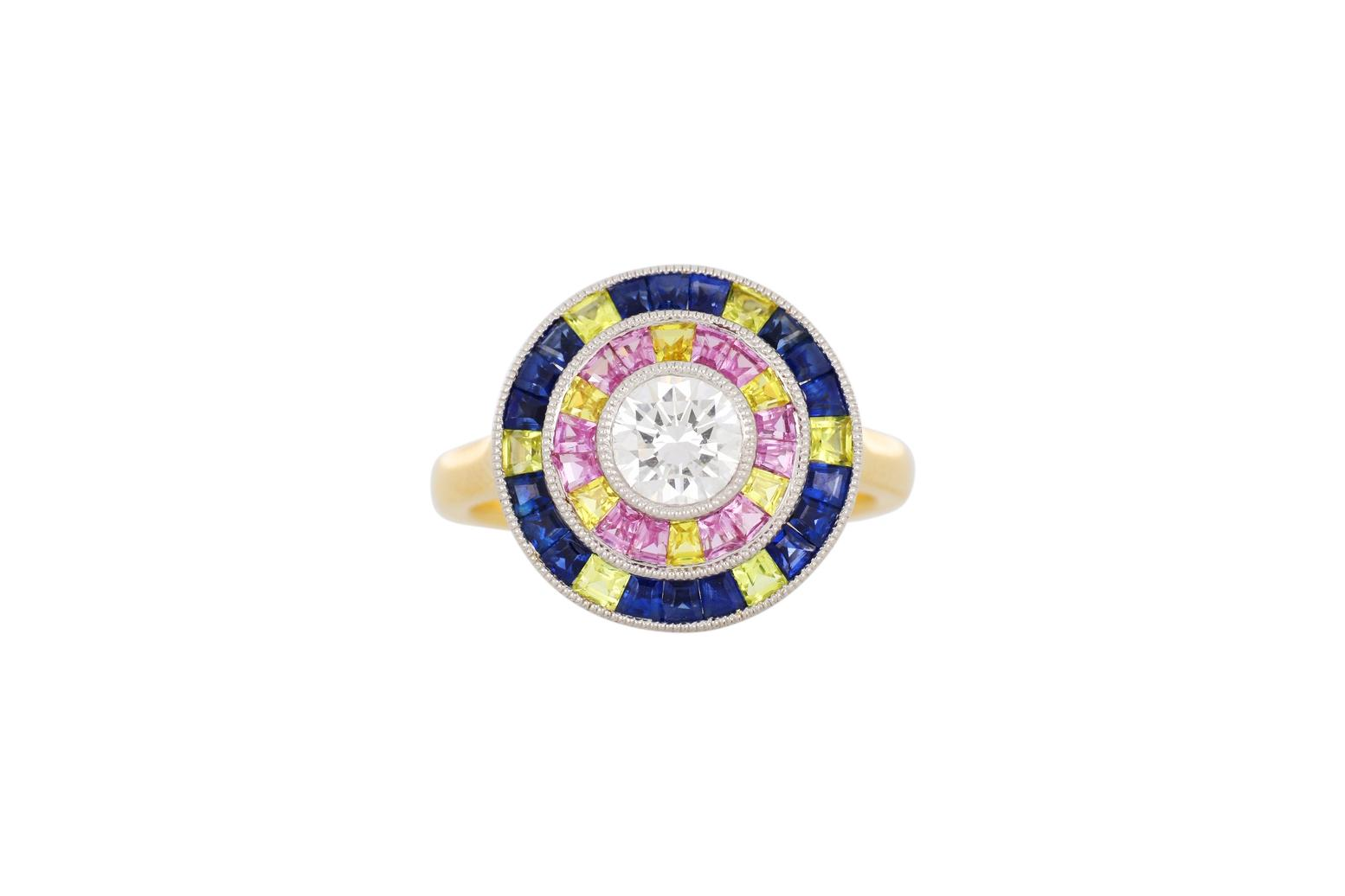 New 18ct gold coloured sapphire & diamond cluster ring