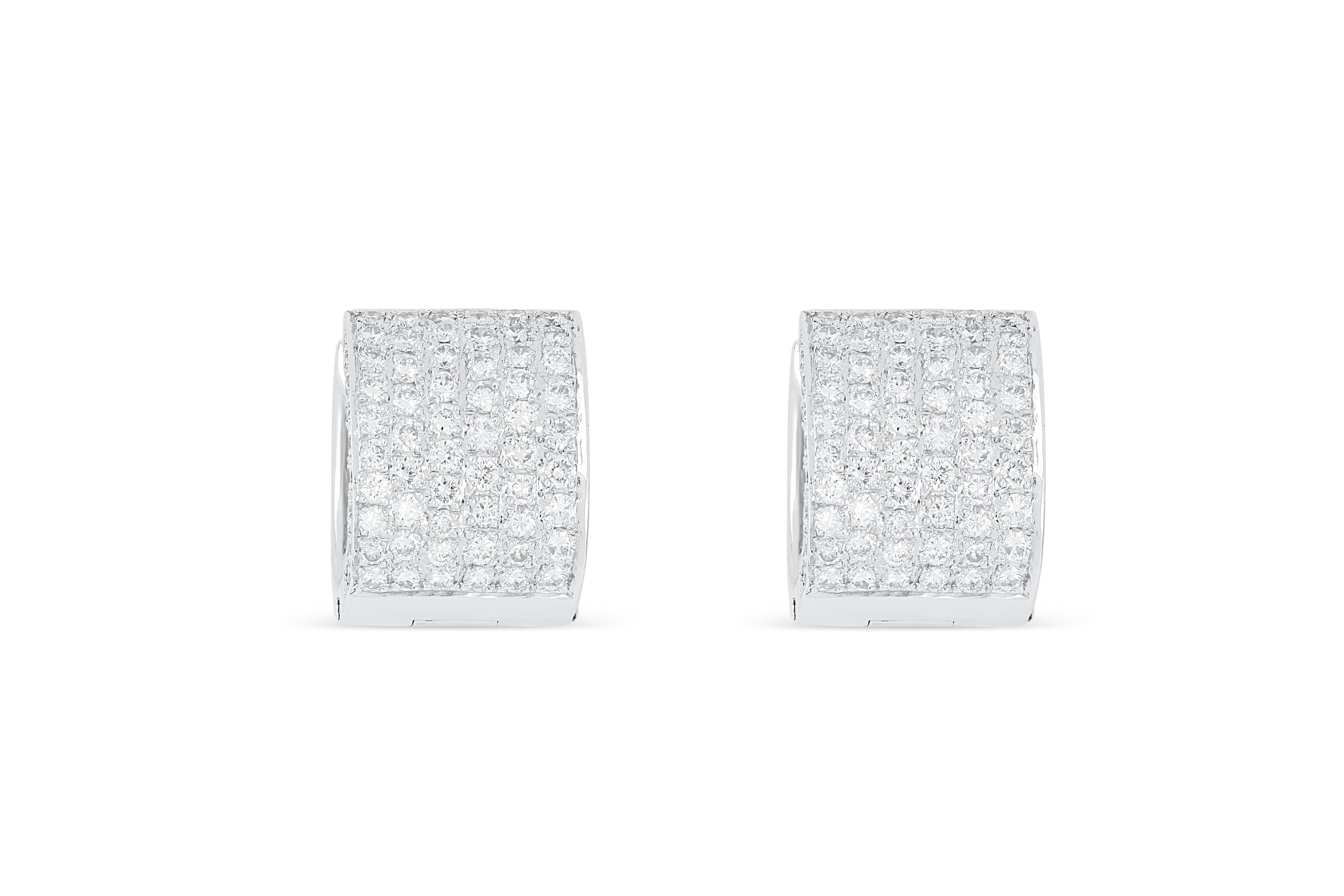 18k white gold earrings pave set with 2.14cts of diamonds