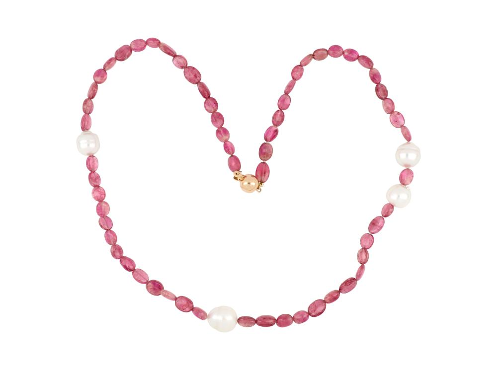 Pink tourmaline & South Sea pearl necklace