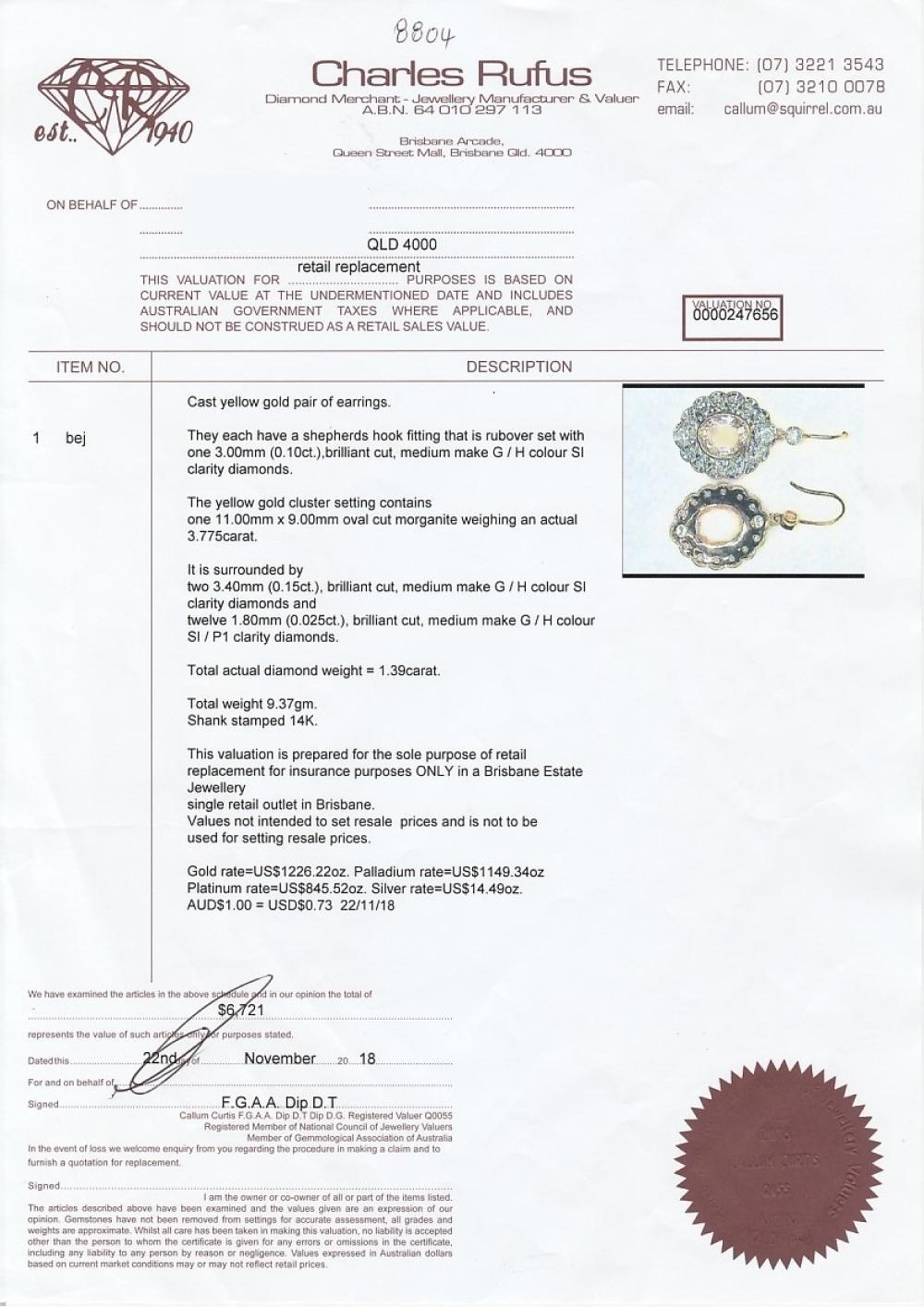 Pair of 14ct gold morganite & diamond drop earrings