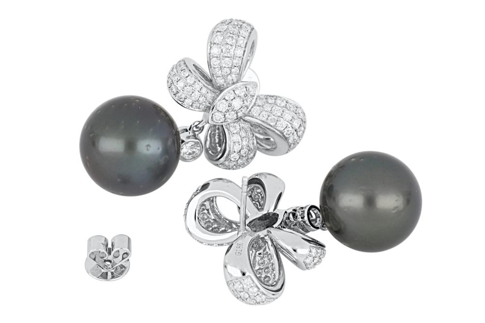 Pair of 18ct white gold diamond & Tahitian pearl bow design earrings