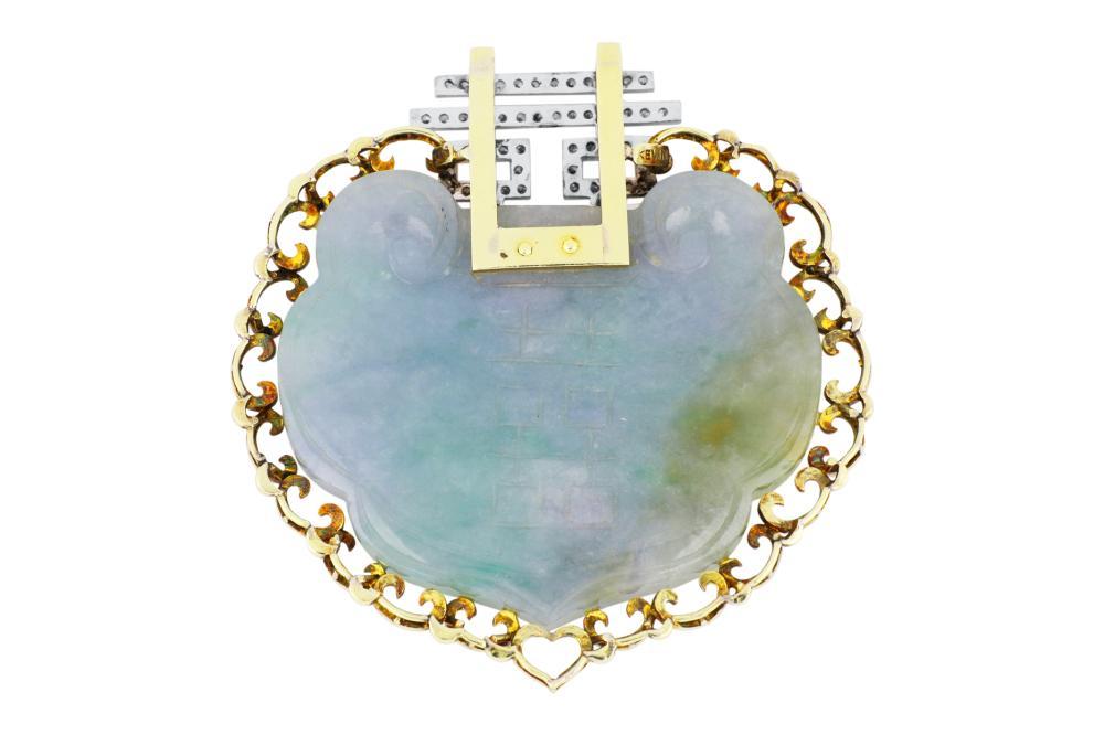 Large 14ct yellow gold jadeite & diamond pendant