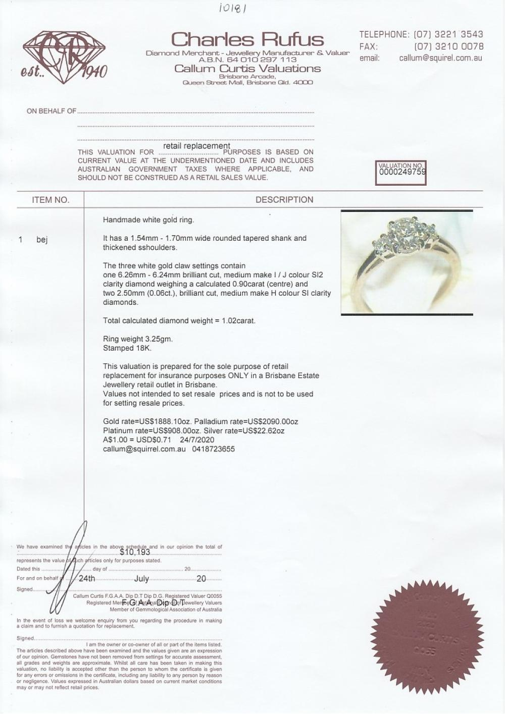 Handmade 18ct white gold 3 stone diamond ring