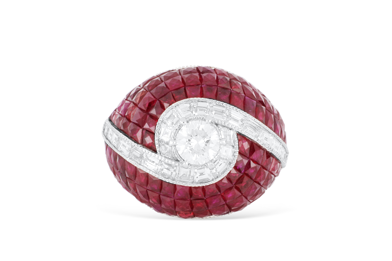 18ct white gold ruby & diamond dress ring