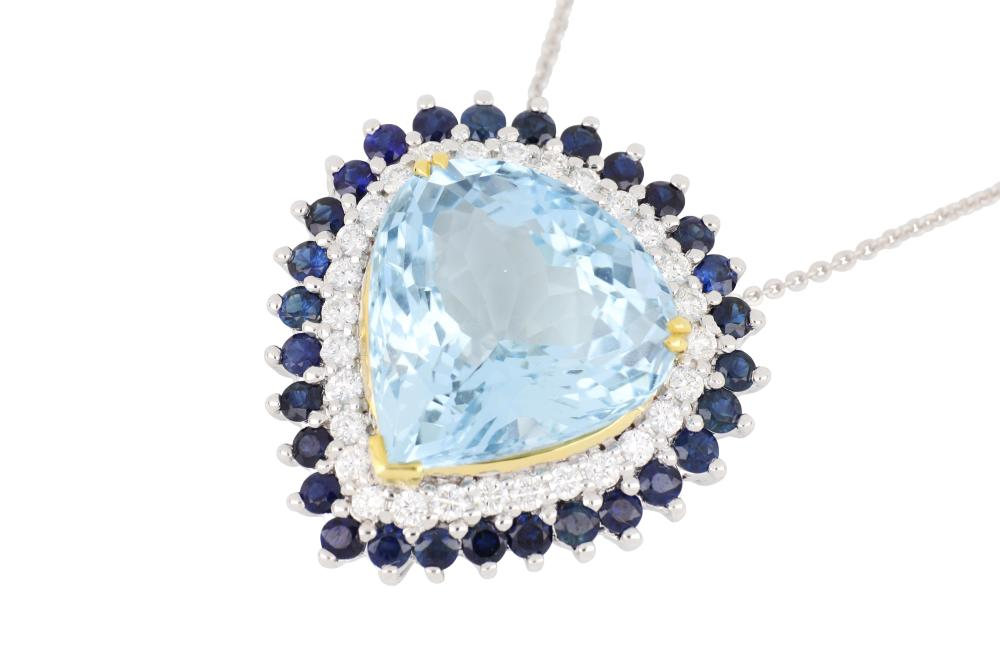 New 18ct white gold aquamarine, sapphire & diamond pendant on 18ct white gold chain
