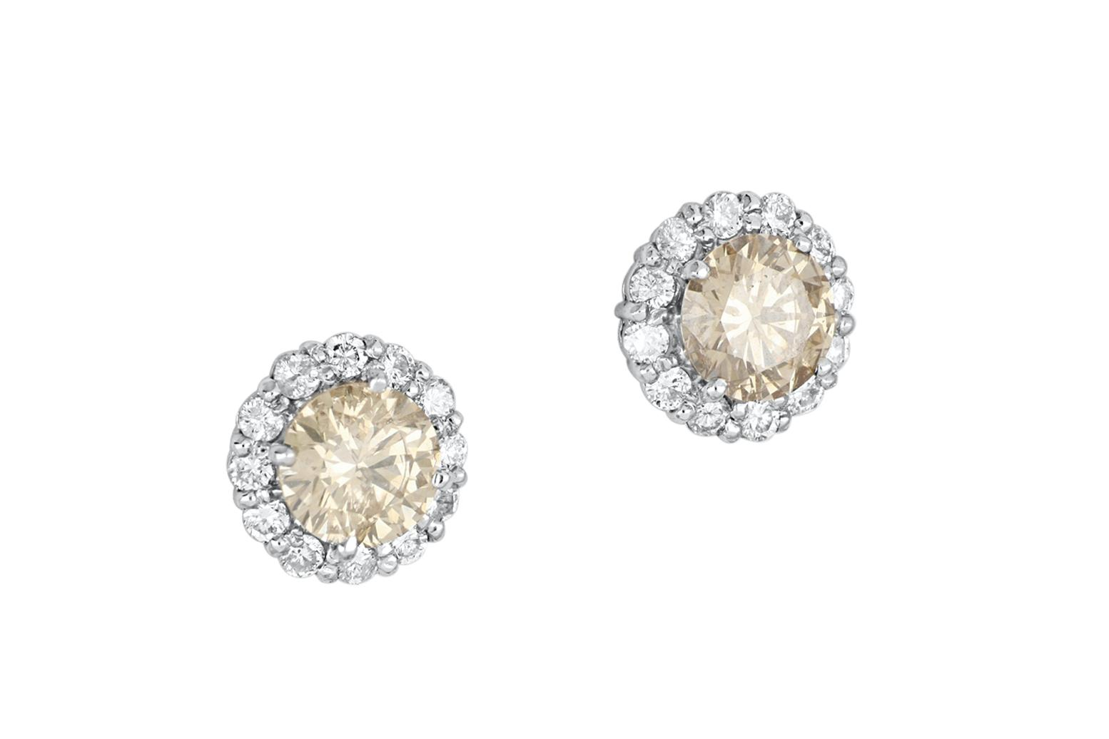 Pair of new 14ct white gold diamond cluster ear studs