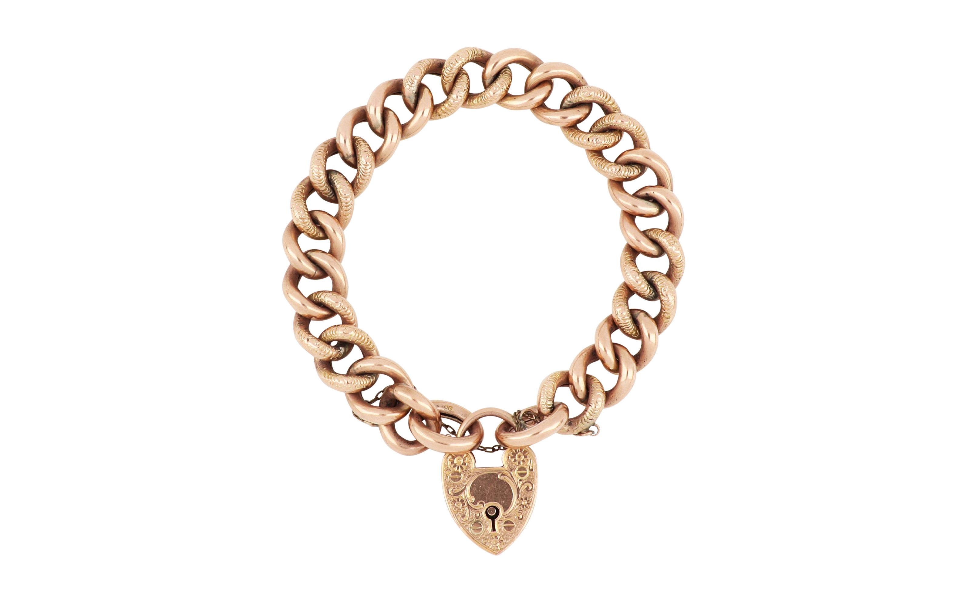 Antique 9ct rose gold night & day bracelet