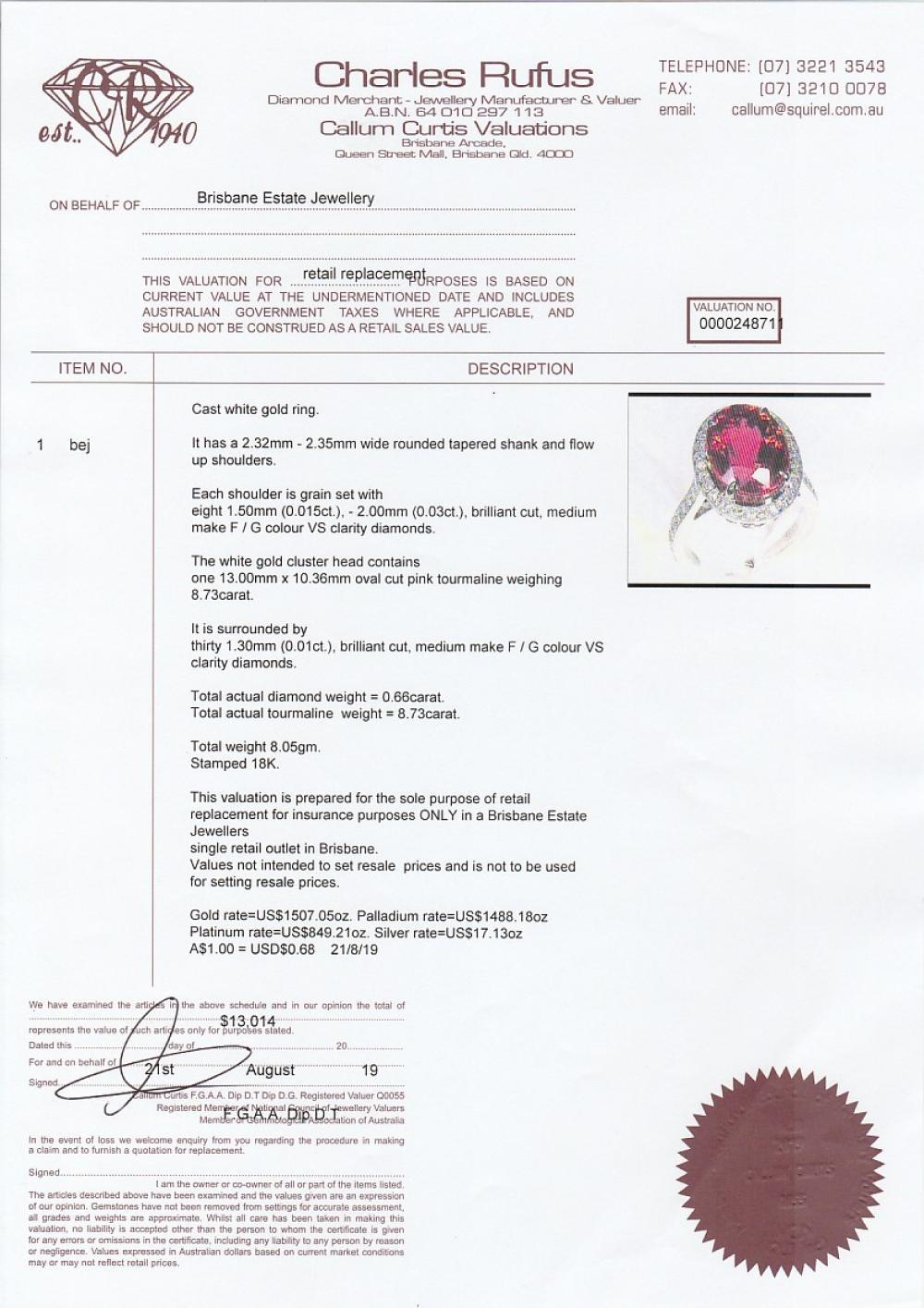 18k white gold ring set with a 8.73ct pink tourmaline & diamonds