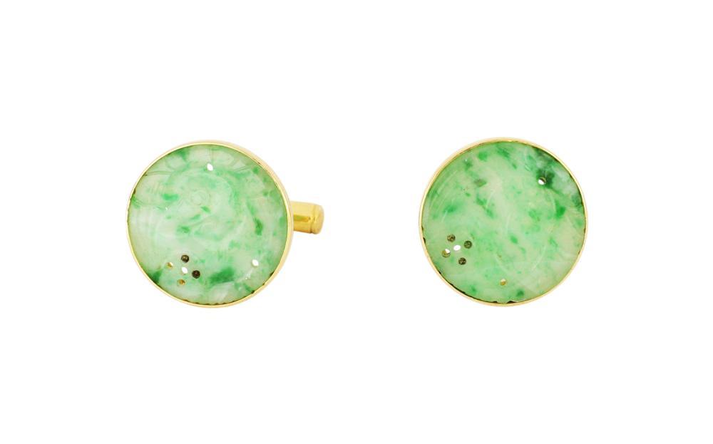 Pair of 14ct gold jade cufflinks