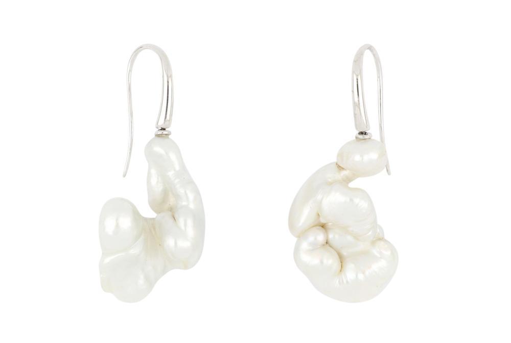 Pair of unusual 18ct white gold Keshi pearl earrings
