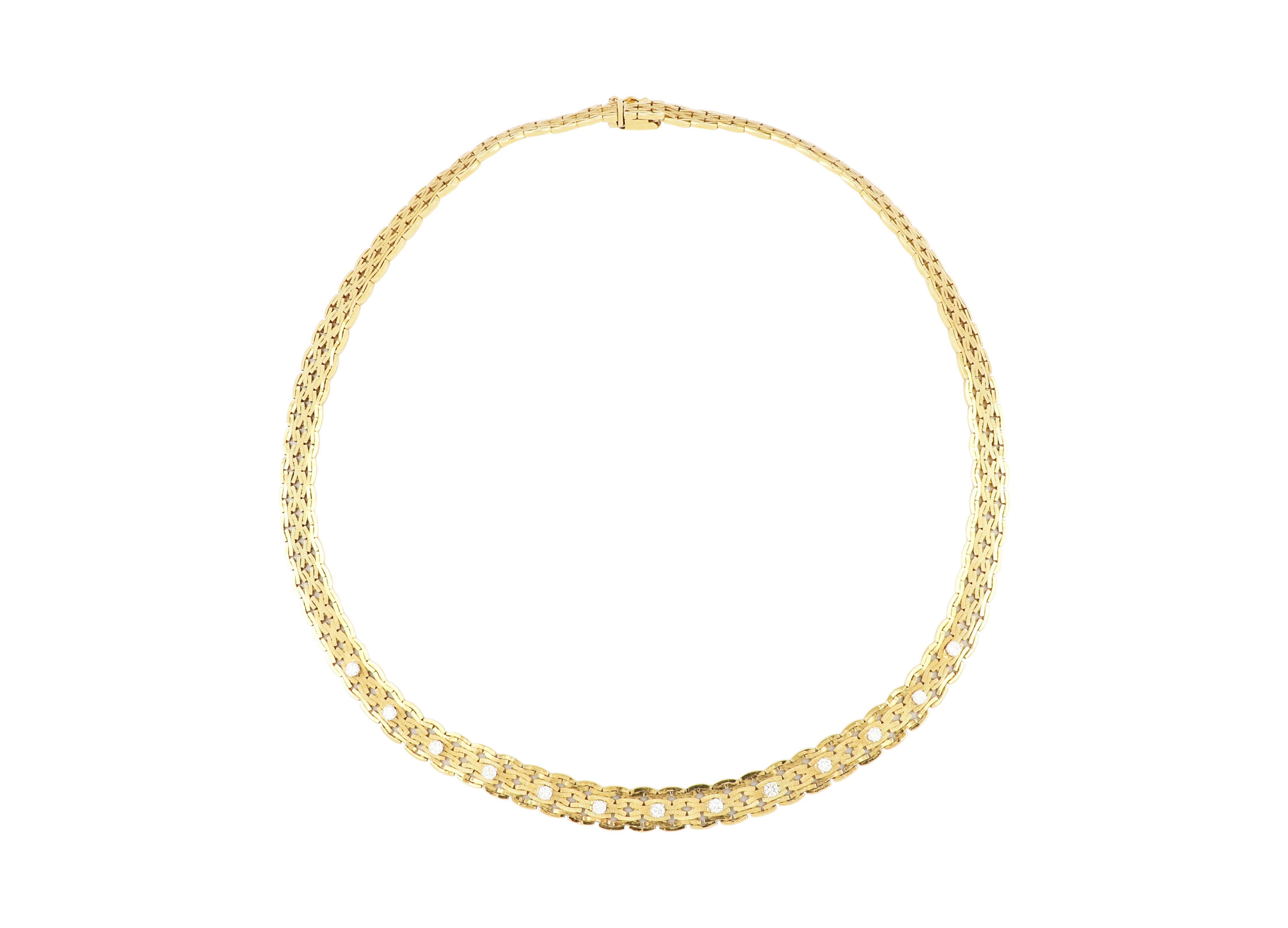 18ct gold & diamond woven design necklace