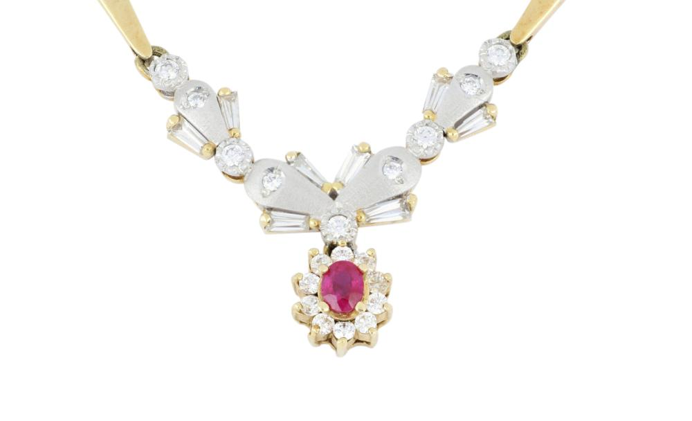 14ct gold ruby & CZ necklace