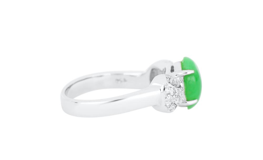 18ct white gold jade & diamond ring
