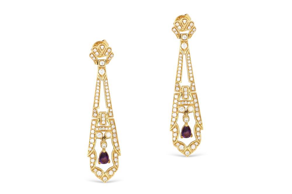 18k yellow gold earrings set with amethyst & diamonds