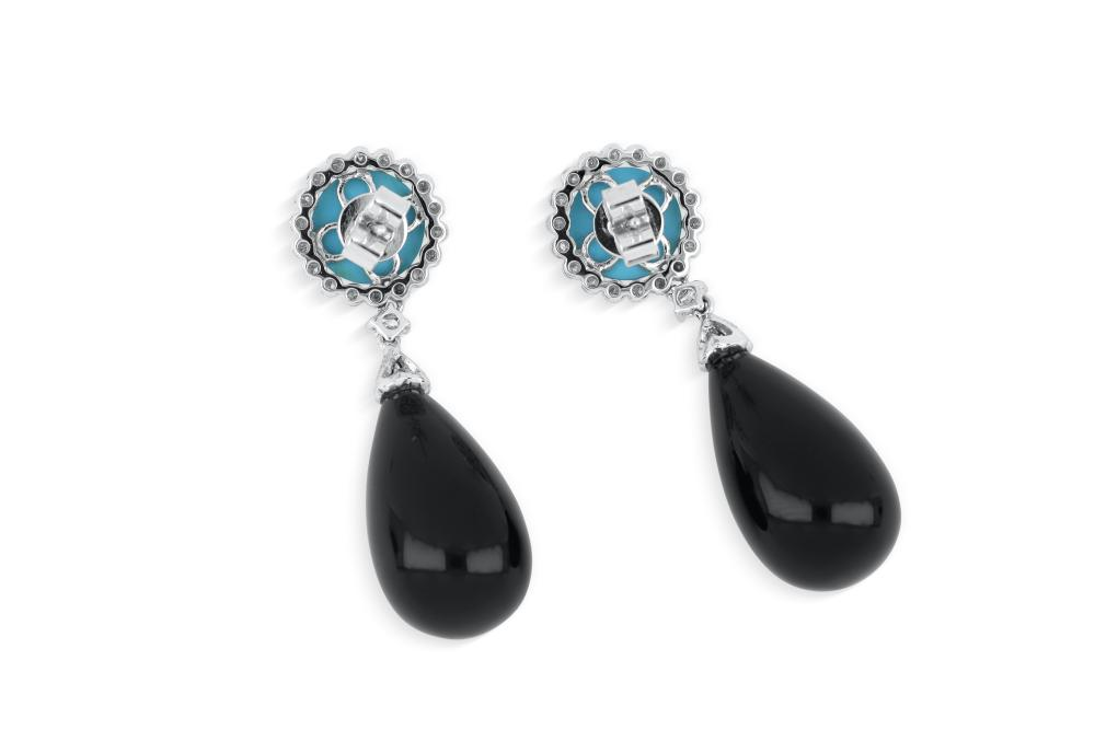 18k white gold turquoise, onyx & diamond drop earrings