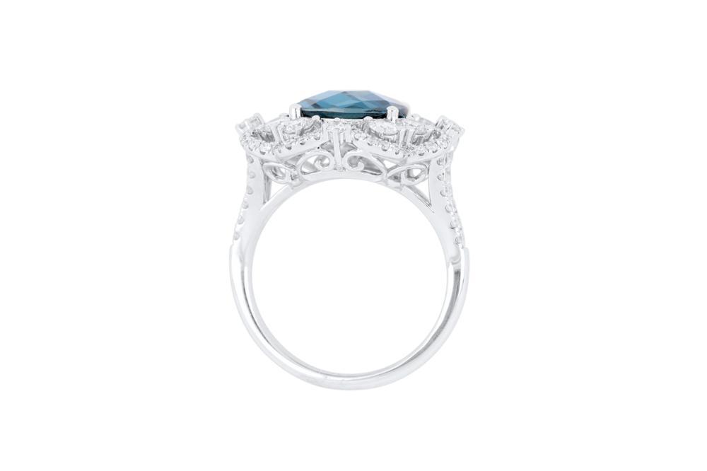 18k white gold ring set with a 3.63ct London blue topaz & diamonds