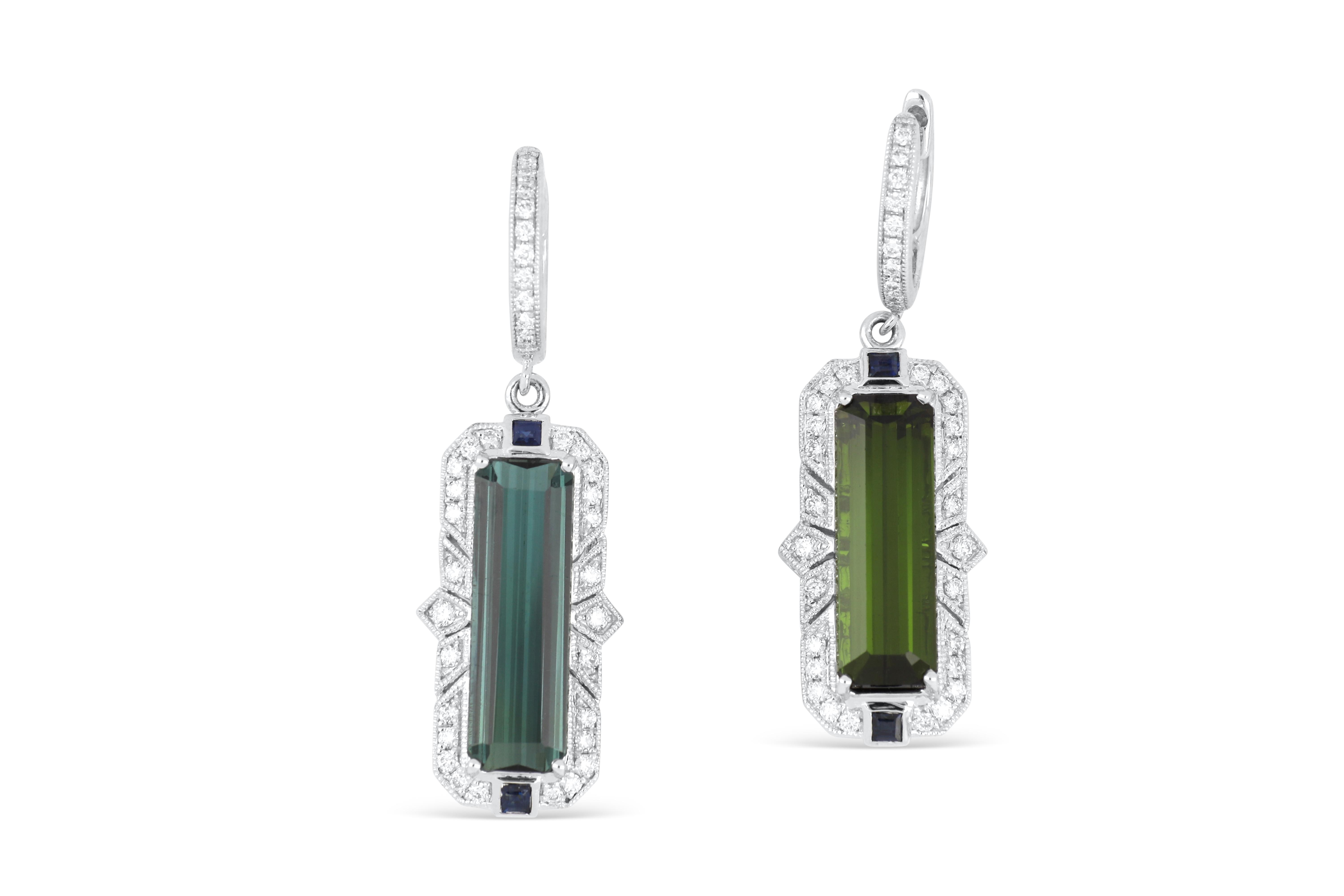 18k white gold earrings set with 2.50cts of green tourmaline & diamonds