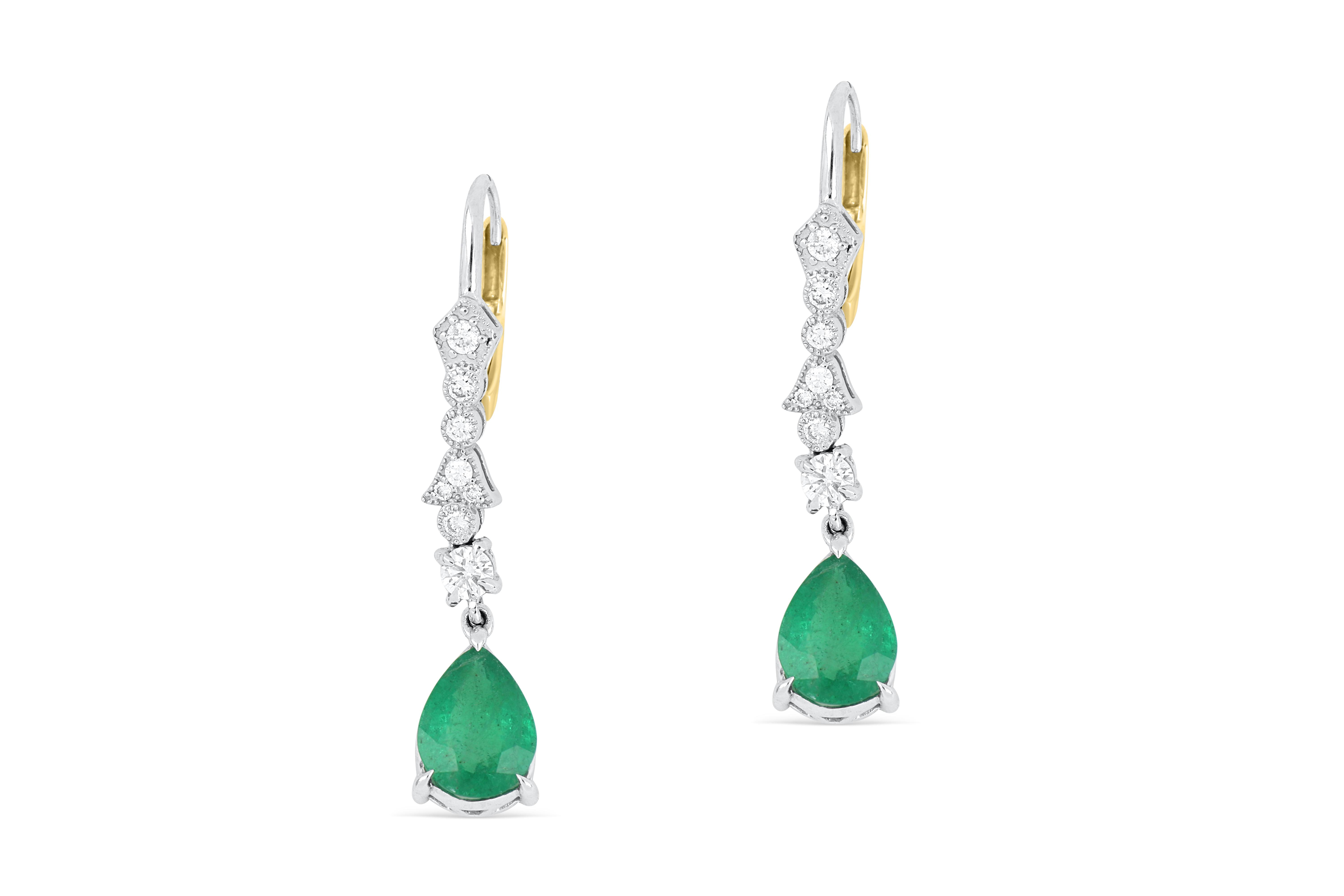 18k gold earrings set with natural emerald & diamond