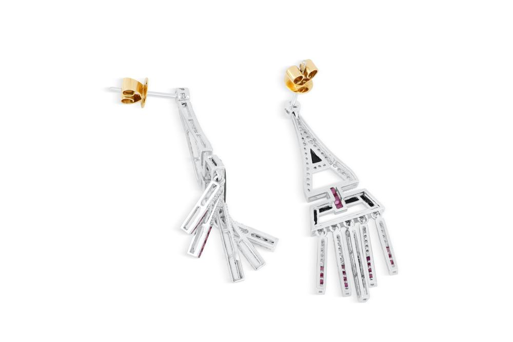 18k white gold earrings set with pink sapphire, diamond & onyx