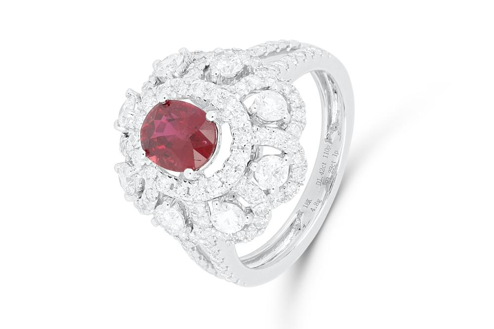 18ct white gold ruby & diamond cluster ring, 5.3 grams