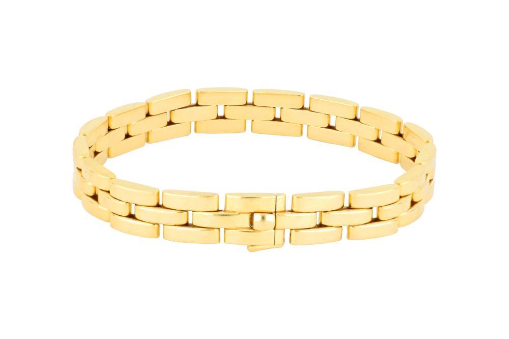 Cartier 18ct gold Panthere 3 row brick link bracelet, 41.4 grams