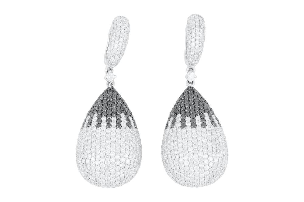 18k white gold earrings set with 11.66cts of white & black diamonds