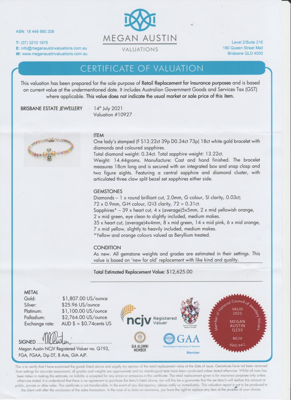 New 18ct white gold coloured sapphire bracelet, 14.44 grams