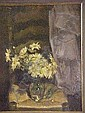 Reshid, Bey. Daisies on wicker chair. Signed lower right. Oil on canvas. Height: 59cm; Width: 49cm., Reshid Bey, Click for value